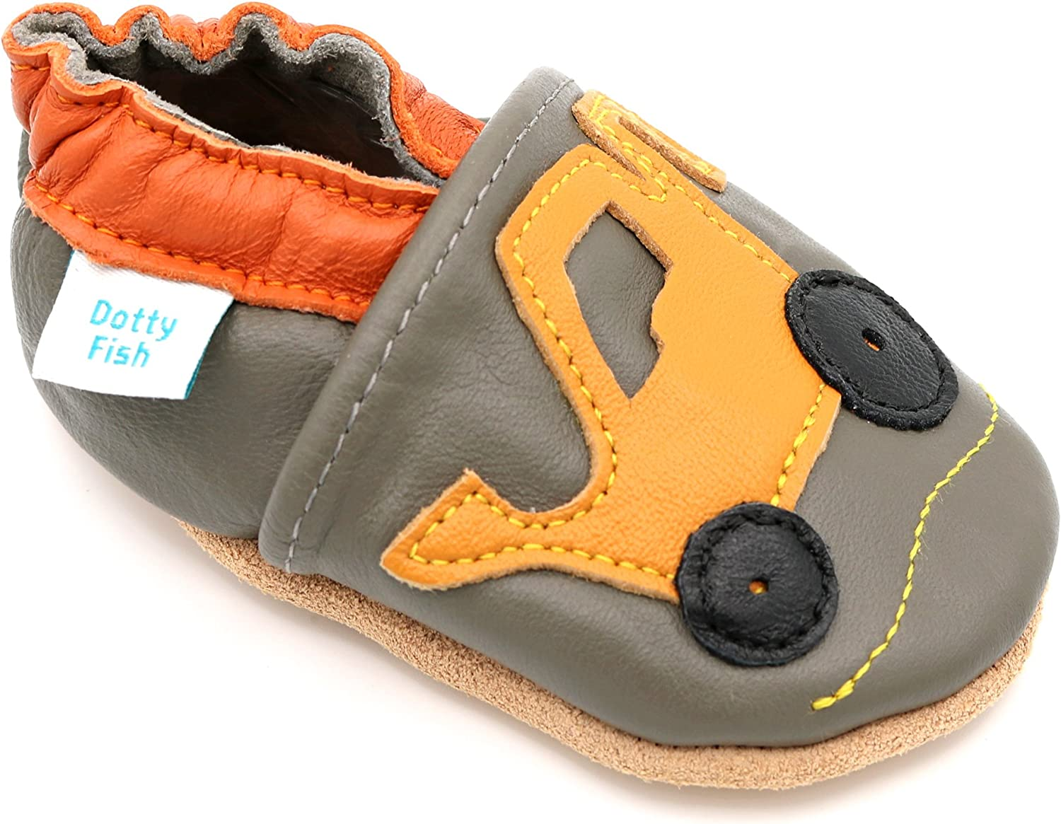 NEW Kids Children Boys Slippers Sandals Natural Leather  Cars NON SLIP SOLE