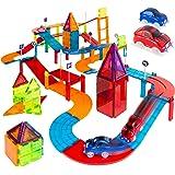 Best Choice Products 105-Piece Kids Magnetic Building Tiles Set, Racetrack Construction Blocks Educational STEM DIY Toy Plays