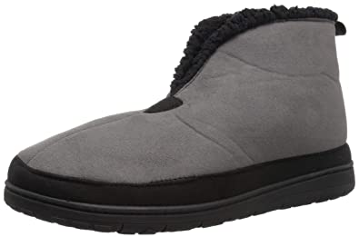 7443f6616619 Dearfoams Men s Microsuede Boot with Mudguard Slipper Black Small