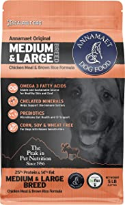 Annamaet Original Medium and Large Breed Formula Dry Dog Food, 25% Protein (Chicken & Brown Rice)