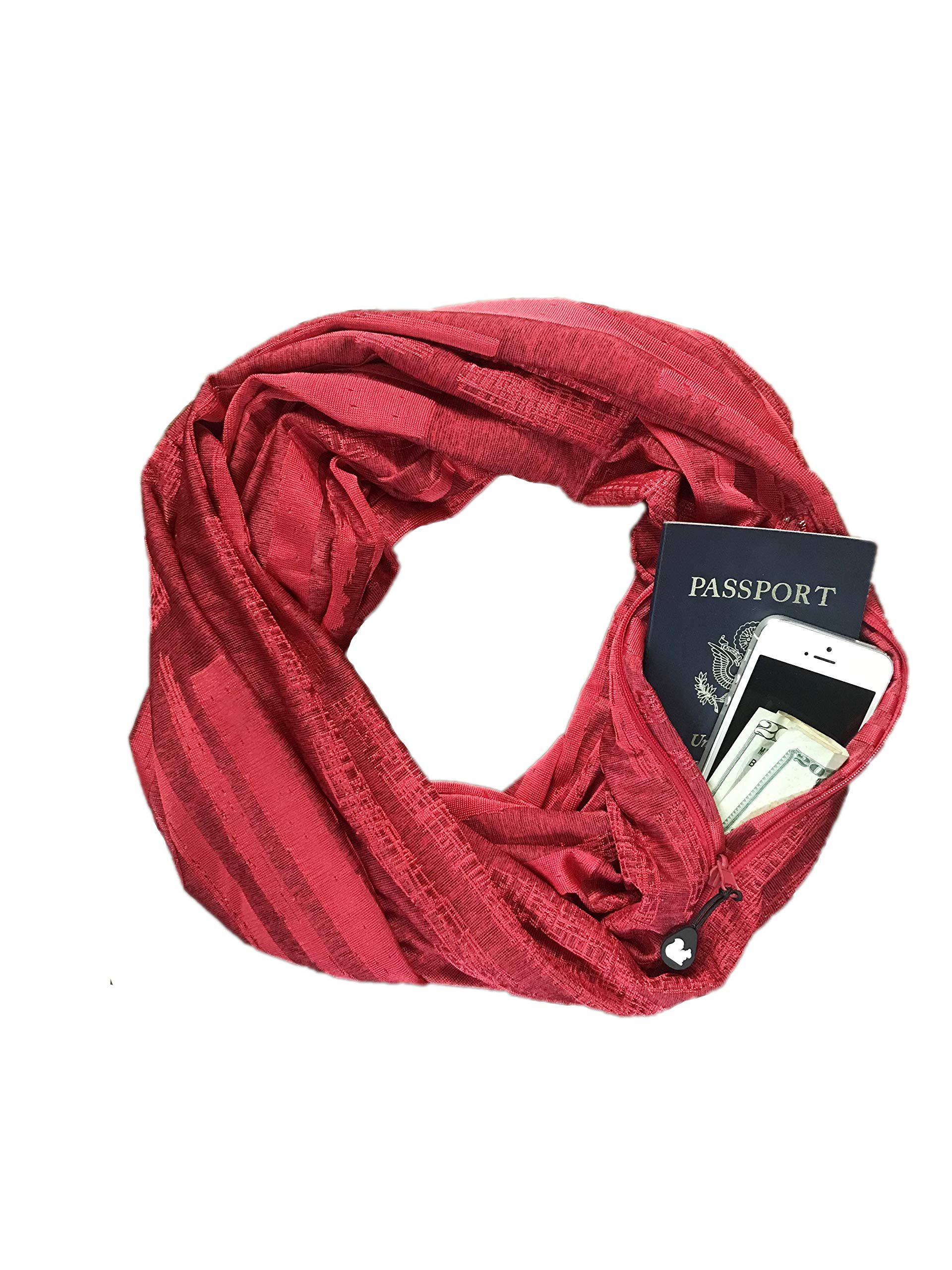 SHOLDIT - The Original Convertible Infinity Scarf with Pocket - New Collection, Vibe Red