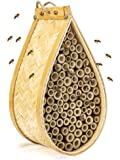 KIBAGA Mason Bee House - Handmade Natural Bamboo Bee Hive - Attracts Peaceful Bee Pollinators to Enhance Your Garden's…