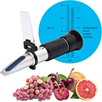 Beslands Refractometer for Grape Wine Brewing, 0-40% Brix & 0-25% vol Alcohol Dual Scale with ATC, Measuring Sugar…