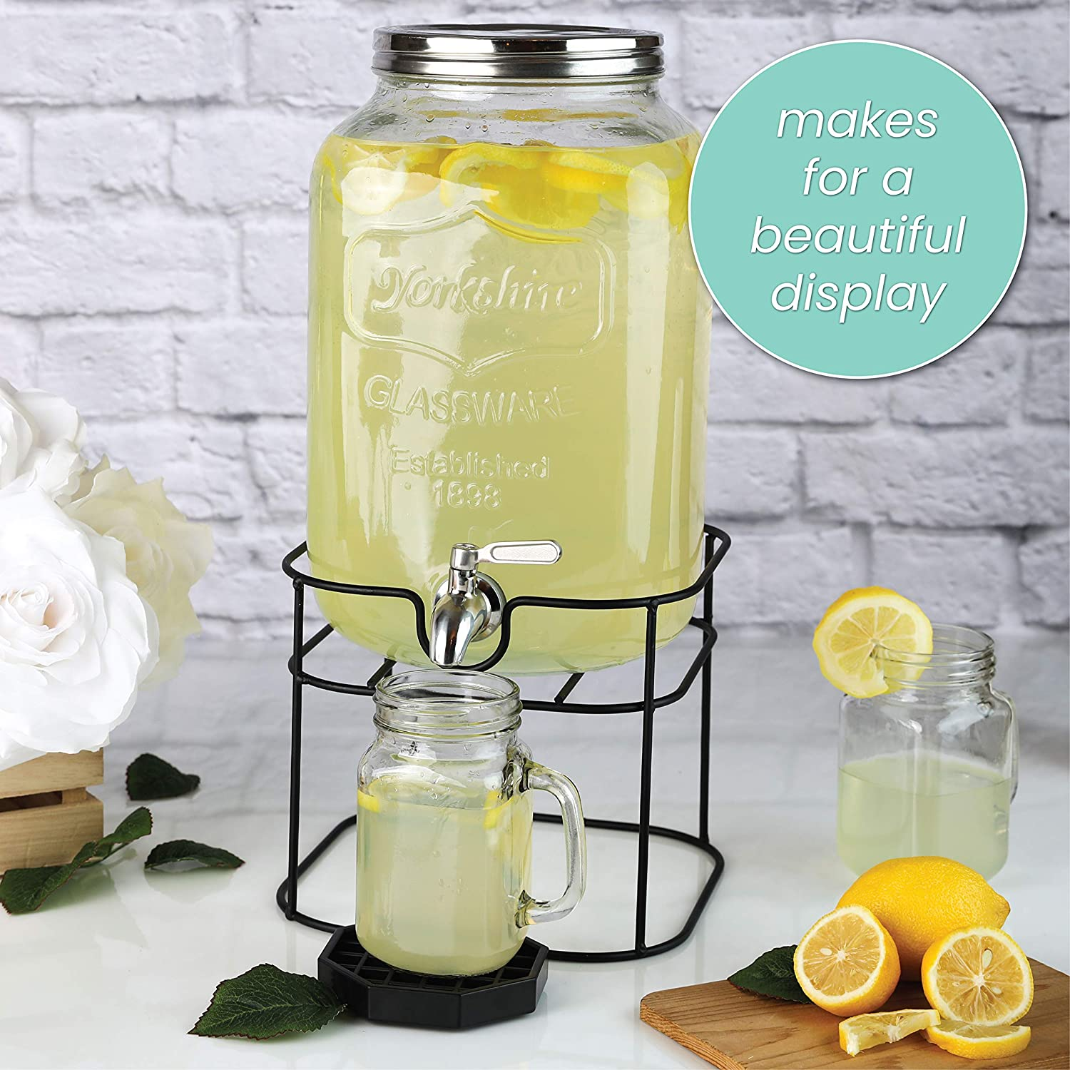 Decorative Mason Jar Dispenser For Sun Tea Iced Tea or Kombucha 2 Gallon Glass Beverage Dispenser with Stainless Steel Spigot on Metal Stand