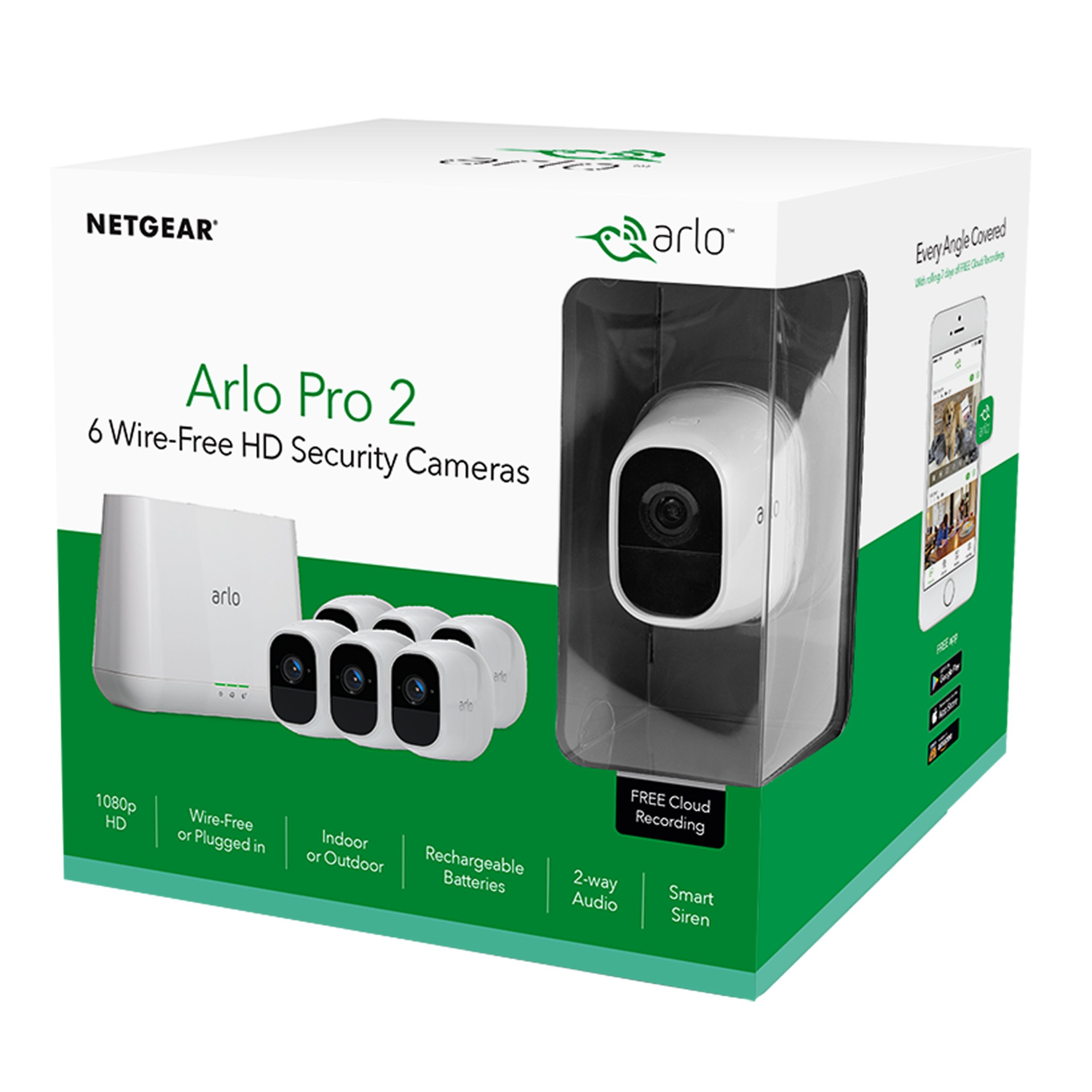 Arlo Pro 2 by NETGEAR Home Security Camera System (6 pack) with Siren, Wireless, Rechargeable, 1080p HD, Audio, Indoor or Outdoor, Night Vision, Works with Amazon Alexa (VMS4630P) by NETGEAR (Image #6)
