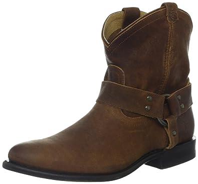 371009e04 FRYE Women's Wyatt Harness Short Boot, Tan Distressed Nubuck, 6 M US