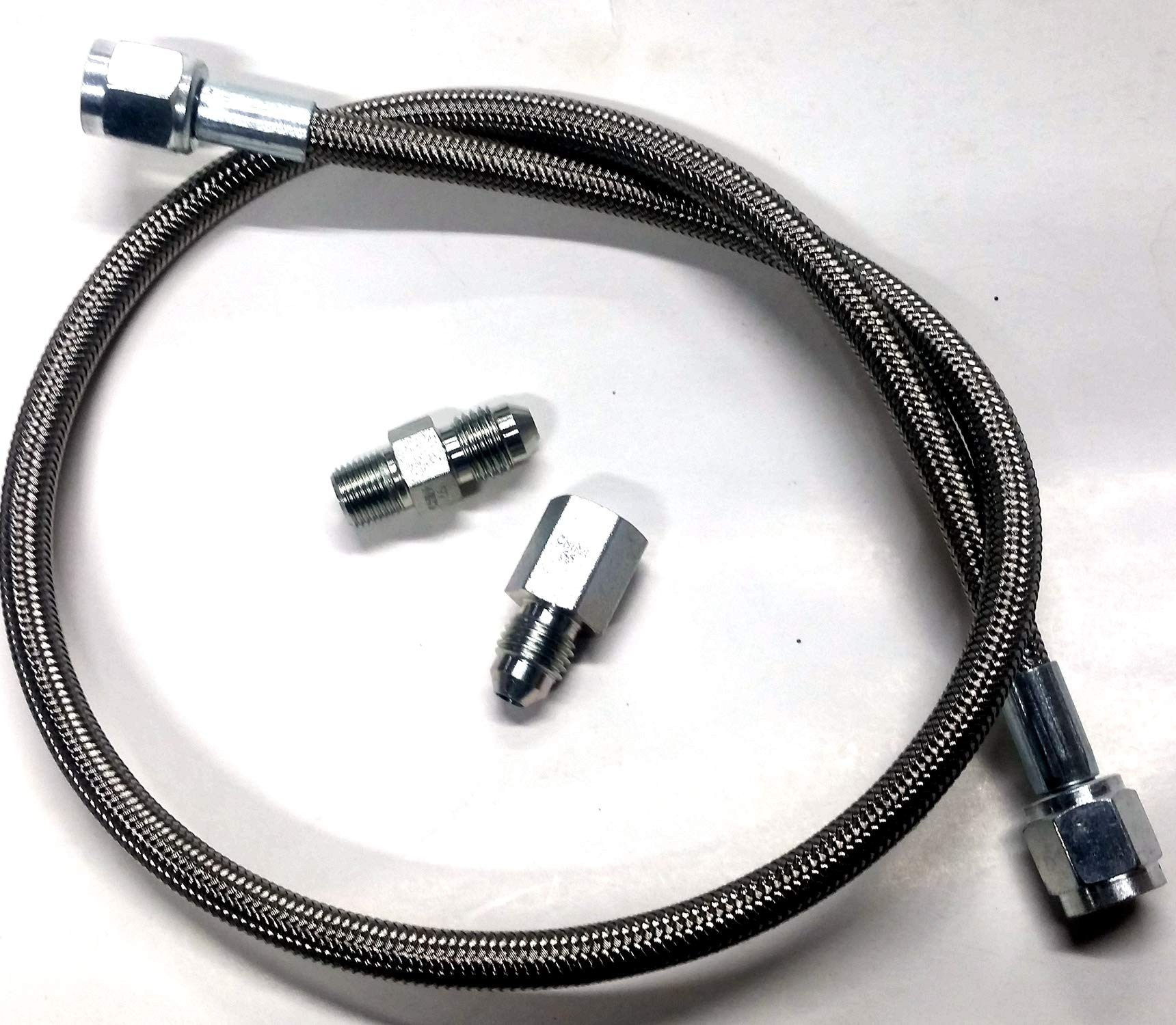 HDM 24'' x 4AN Oil/Fuel Pressure Gauge Line Hose & #4 an Fittings Kit IMCA UMP SBC ... by HDM Performance Parts