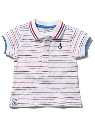 728aa42ecc M&Co Baby Boy 100% Cotton White Red and Blue Stripe Pattern Anchor  Embroidery Polo Shirt