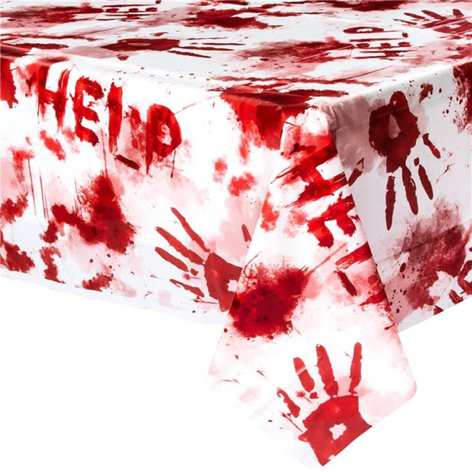 Fancy Me Halloween Party Celebration Decoration Bloody Blood Stained Handprint Help Scary Spooky Tablecover Tablecloth Tableware