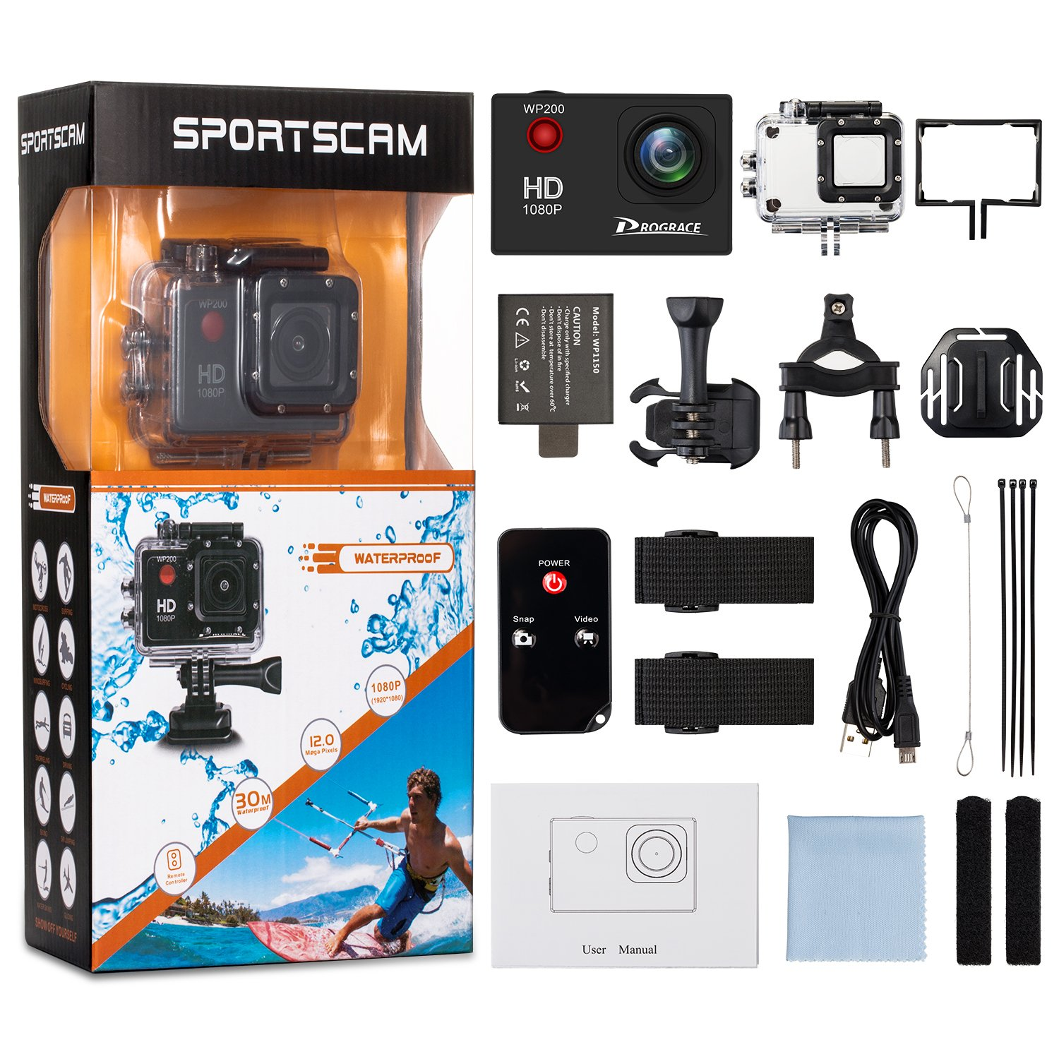 Prograce Action Camera Underwater Waterproof Video Sports Sport Cam 4k Full Hd With Remote Camcorder 30fps 1080p 60fps Wifi