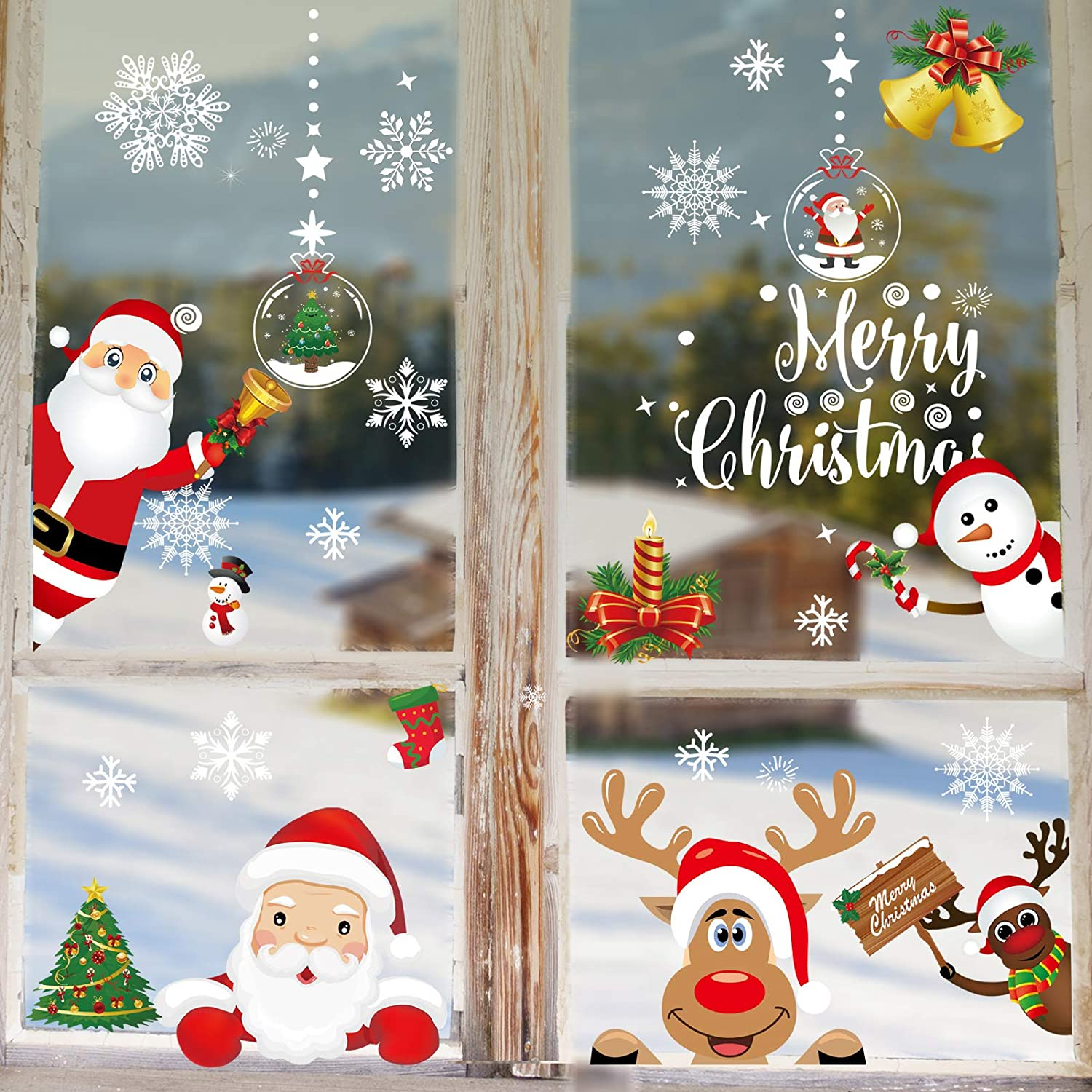Danvren Christmas Window Clings Decorations, Snowflake Reindeer Santa Claus Window Stickers for for Winter Decor Xmas Party Supplies (11 Sheets)