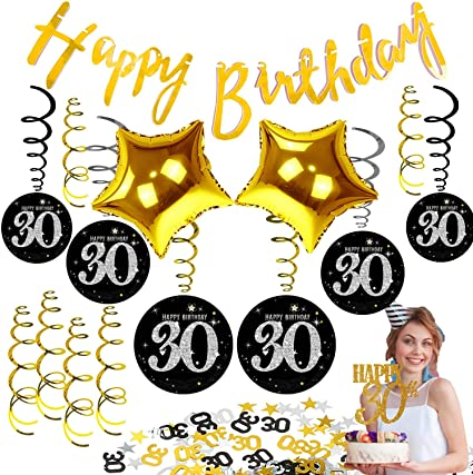 Amazon.com: 30th cumpleaños decoraciones globos para hombres ...
