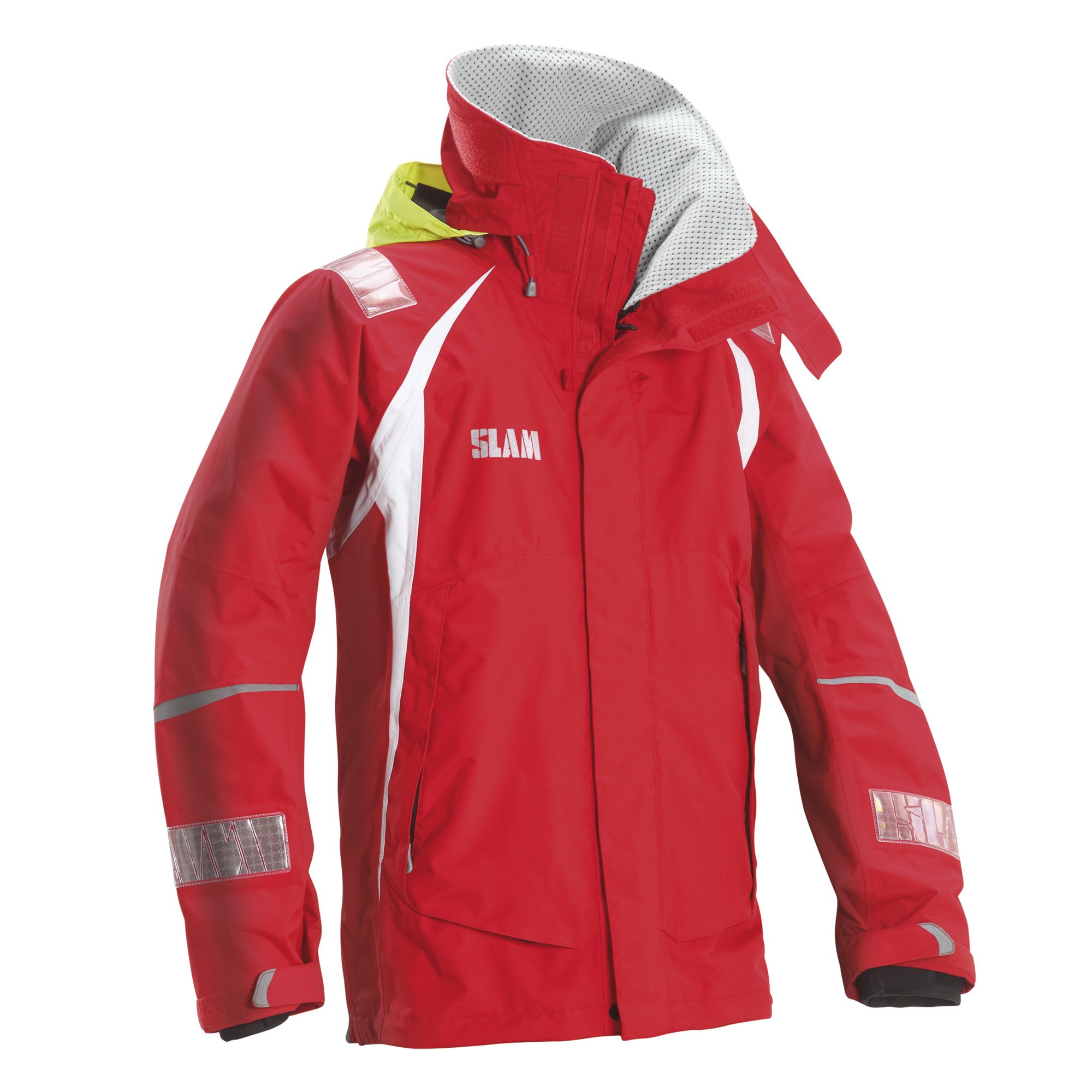 Slam Man Technical Collection Men's 160gr Nylon TUSSOR Force 3 Jacket Col.625 Perforated Fleece Collar Lined Red Long Sleeve Jacket 2X-Large