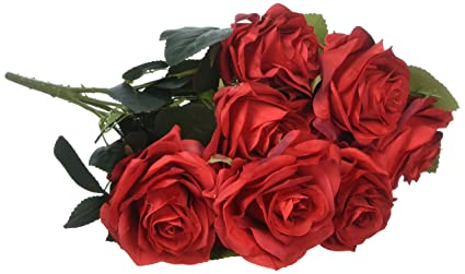 Amazon.com: Silk Red Rose 10 Heads SOLEDI Artificial Flower French ...