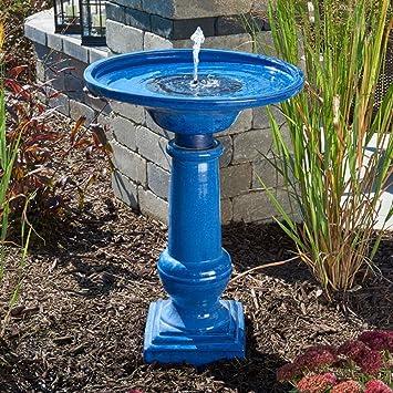 Smart Garden 25372RM1 Athena Glazed Blue Ceramic Birdbath Fountain With  Solar On Demand And Battery Technology