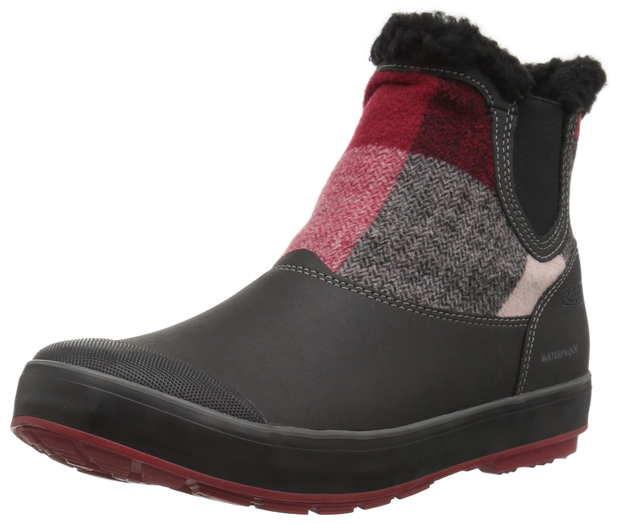 KEEN Women's Elsa Chelsea WP-w Snow Boot, Red Dahlia Wool, 8 M US