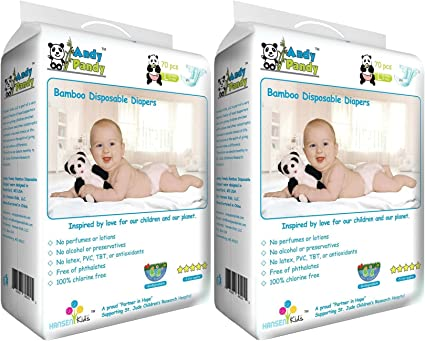 Large for Babie Eco Friendly Premium Bamboo Disposable Diapers by Andy Pandy