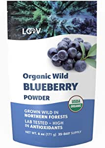 Organic Wild Blueberry Powder, Wild-Crafted from Nordic Forests, 100% Whole Fruit Bilberry, 35-day Supply, 6 oz, Freeze-Dried and Powdered Wild Blueberries, High in Anthocyanins