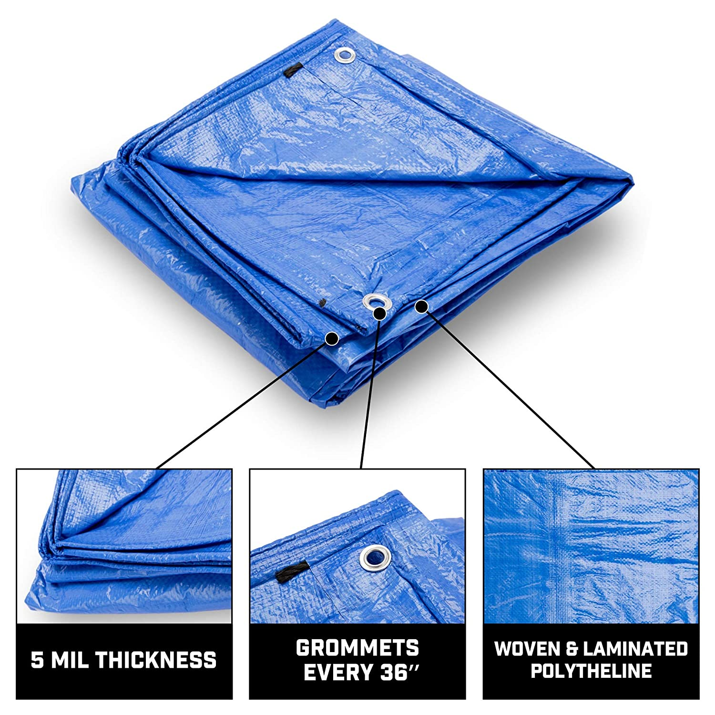 Blue Multi Purpose Waterproof Tarp 8X10 Pack of 20 8 x 8 Weave B-Air Grizzly Tarp