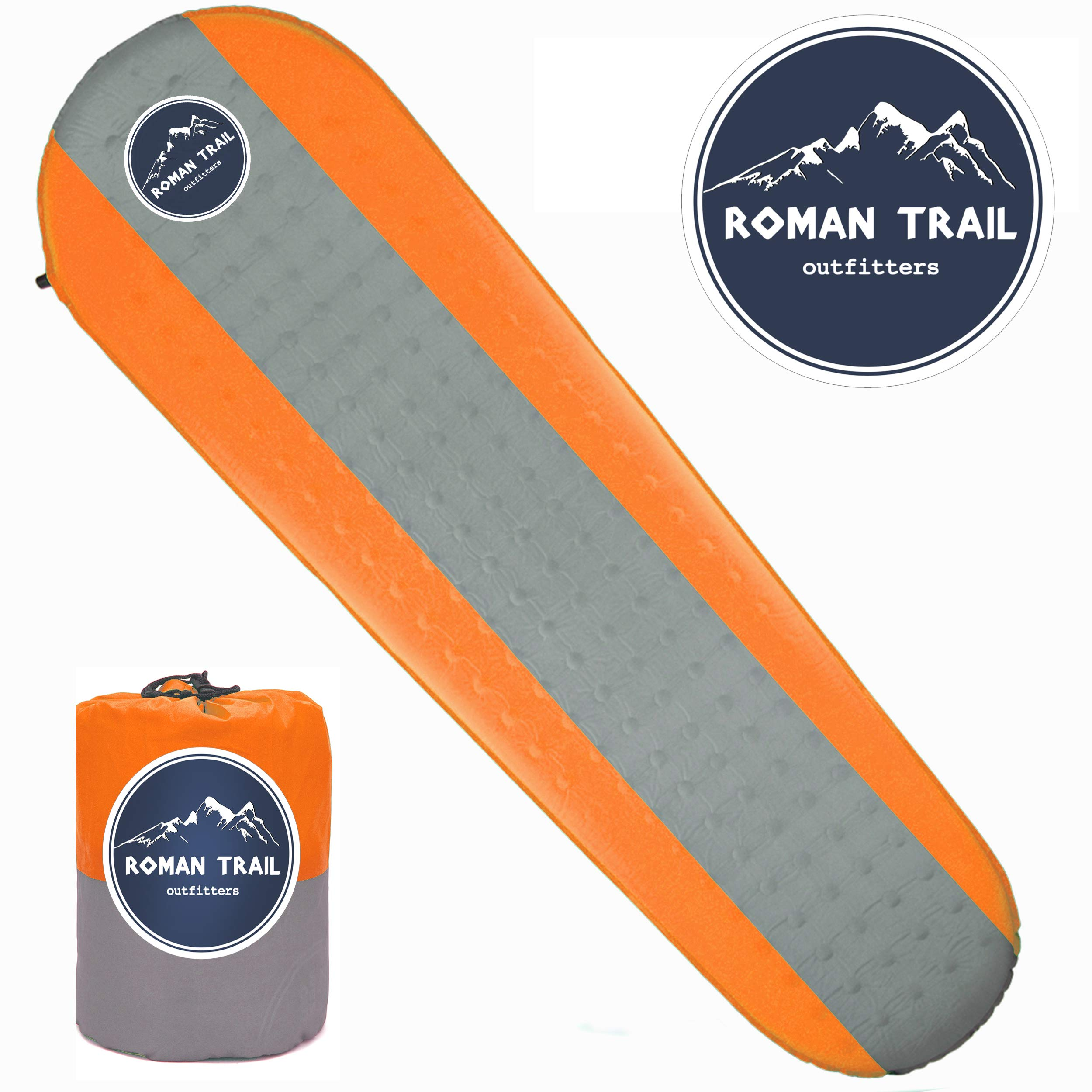 Best Self Inflating Sleeping pad Lightweight Camping Foam pad- Best for Camping Backpacking & Hiking. R Value of 4.9 - Inflatable Camping Mattress (Orange, Large) by Roman Trail Outfitters