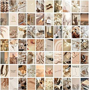 KOSKIMER 70PCS Beige Wall Collage Kit Aesthetic Pictures, 70 Set 4x6 Inch, Warm Color Room Decor for Girls, VSCO Posters for Bedroom, Photo Collage kit, Dorm Room Wall Decor, Neutral Wall Art Print