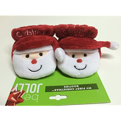 """Baby's First Christmas Booties/socks/slipper/shoes (Adorable Santas!) """"My First Christmas"""""""