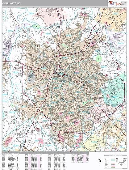 Amazon.com: Charlotte, NC City Wall Map (Premium Style, Laminated ...