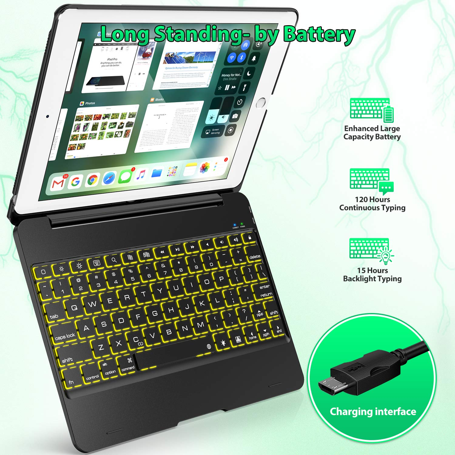 Keyboard Case Compatible with iPad 2018 (6th Gen), iPad 2017 (5th Gen), iPad Pro 9.7,'' and iPad Air 1 and 2 - Features Detachable Design, Rotating Hinge and Adjustable Backlight (Black) by Tezzionas (Image #5)