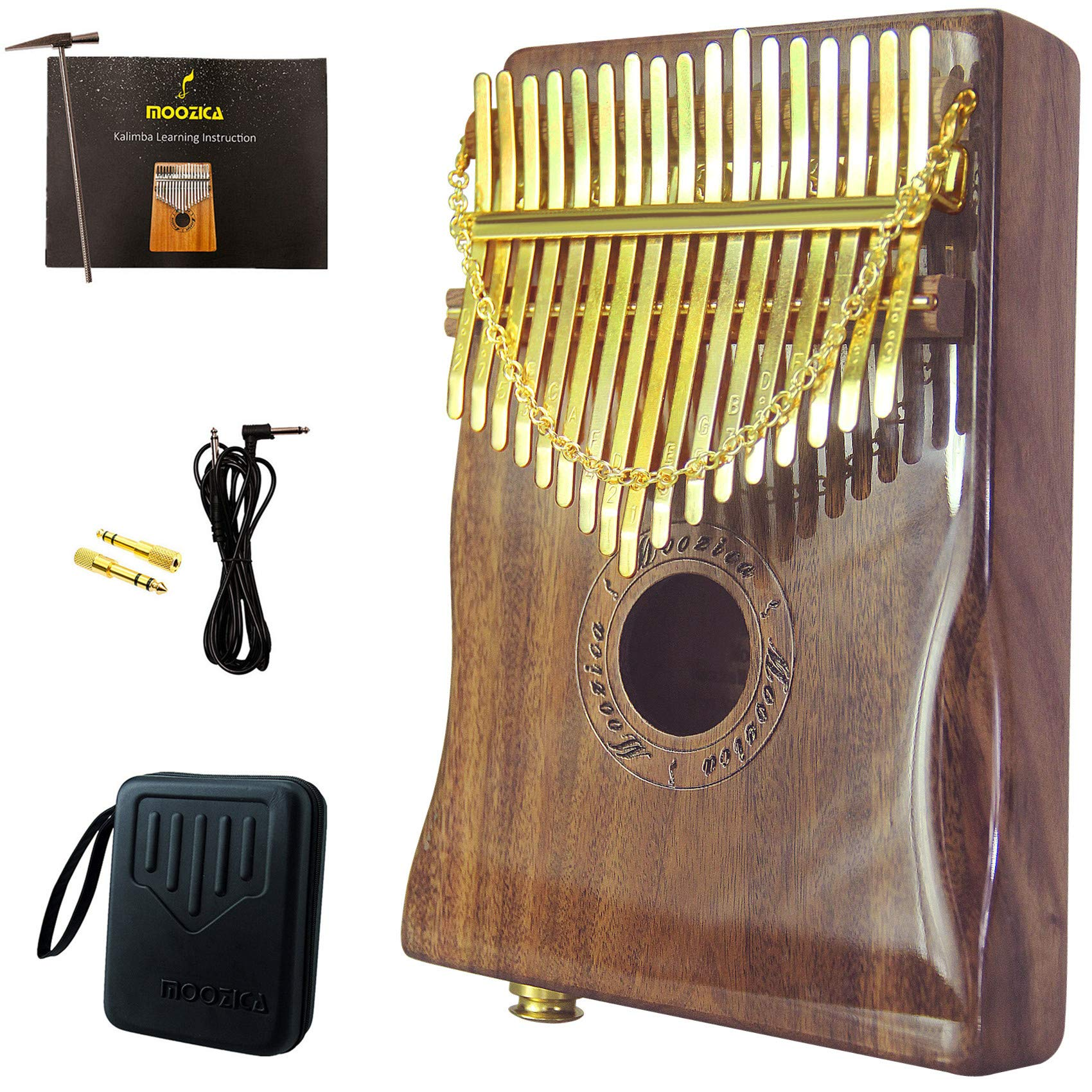 Moozica 17-key EQ Kalimba Thumb Piano, Top Quality Solid Koa Wood Electric Kalimba With Build-in Pickup and High-gloss Lacquer Finishing(K17KP)