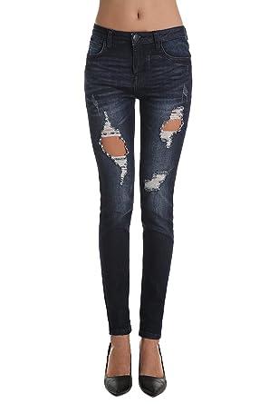 ZLZ Damen Jeanshose Zerrissen Ripped Jeans Loch Slim Hose (W29 EU40, Dark  Blau 46f7c672de