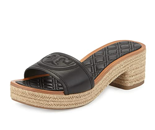 a9cf5f1eb Tory Burch Women s Fleming Quilted Leather Espadrille Mule 50MM Slide Shoes  ...