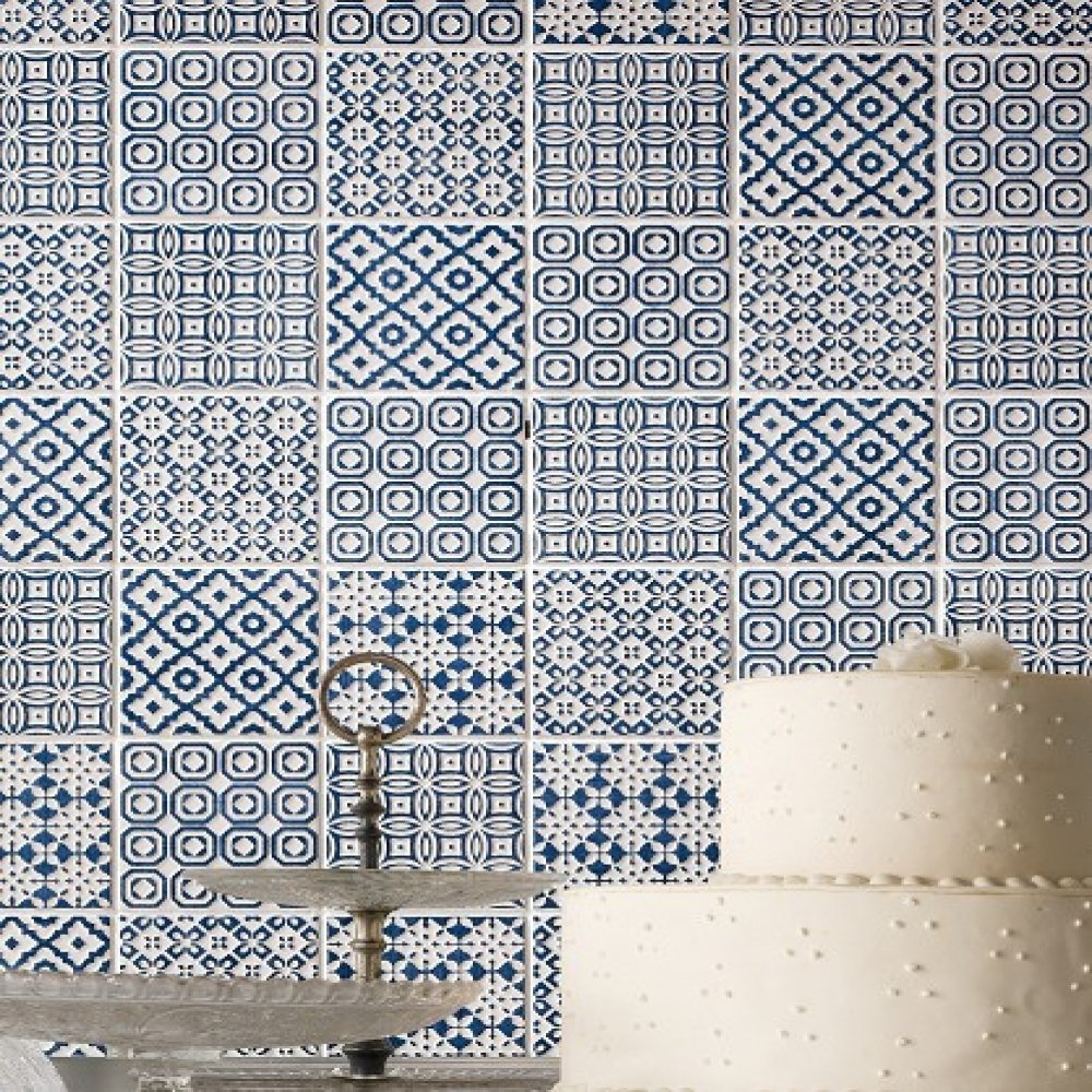 BATIK PATCHWORK BLUE KITCHEN WALL TILE - MIXED PATTERNED [WHITE ...