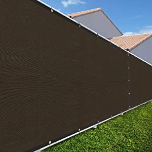 TANG Sunshades Depot 4'FTx25'FT Brown Privacy Fence Screen Temporary Windscreen Park Tennis Court School Home 150 GSM Heavy Netting Fence Cover 88% Privacy Blockage Excellent Airflow 3 Years Warranty