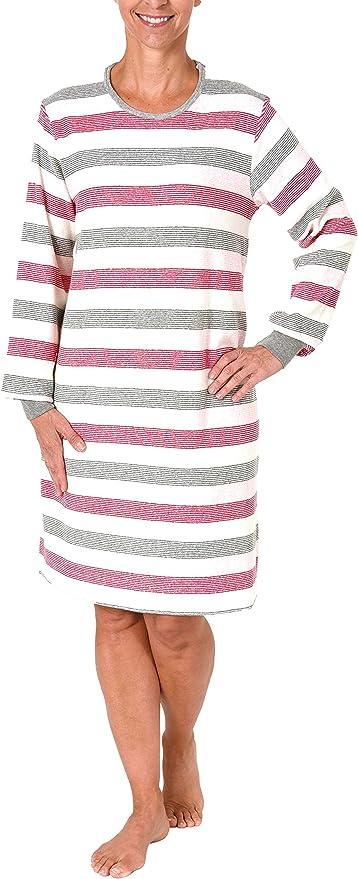 Damen Frottee Nachthemd langarm in Streifenoptik 281 213 93 238 Übergrößen