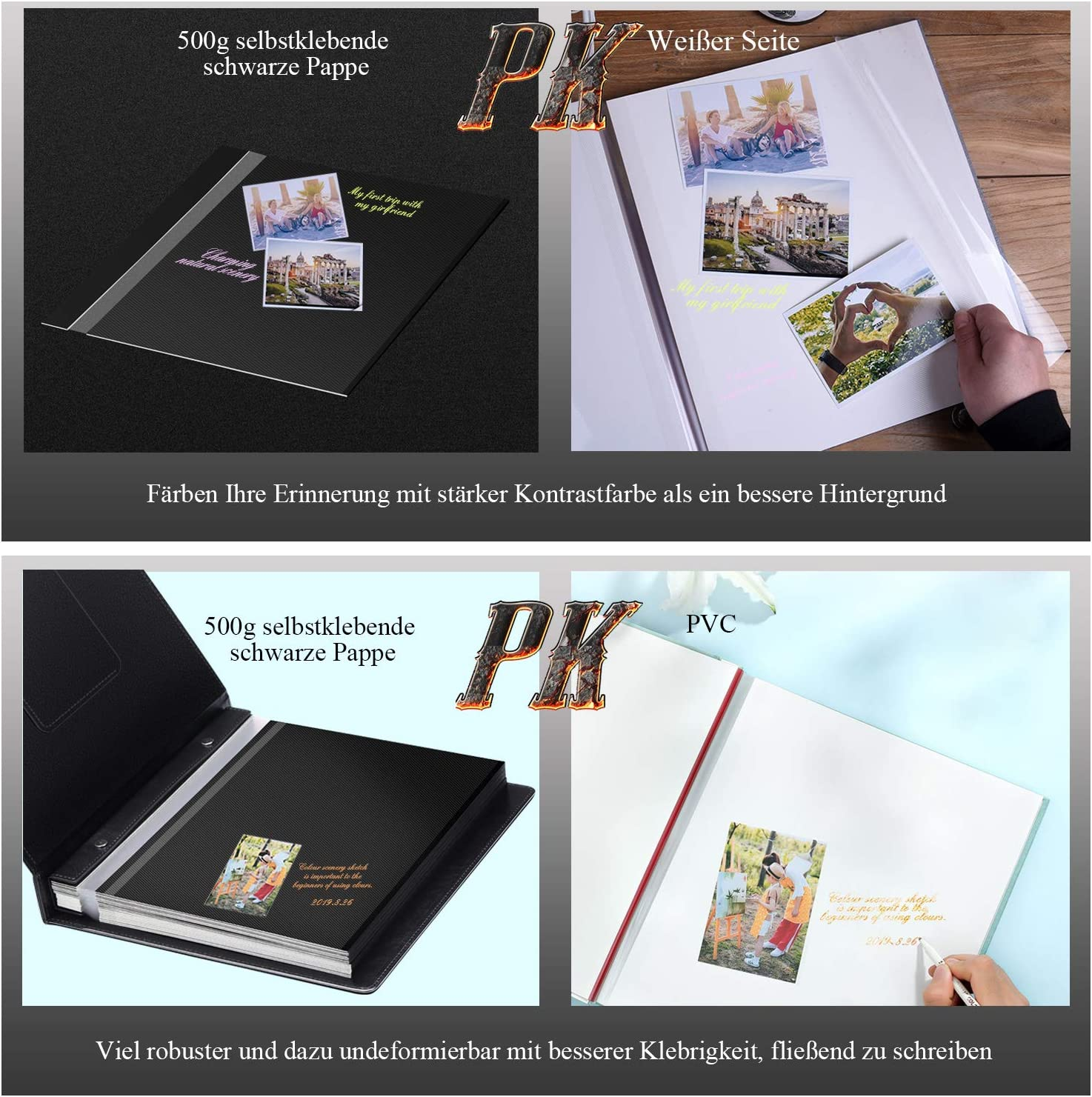 60 pages noires bleu famille Cuir voyage Album photo DIY autocollant ZHIJING Grand format anniversaire mariage Noir brun Scrapbook /Étanche
