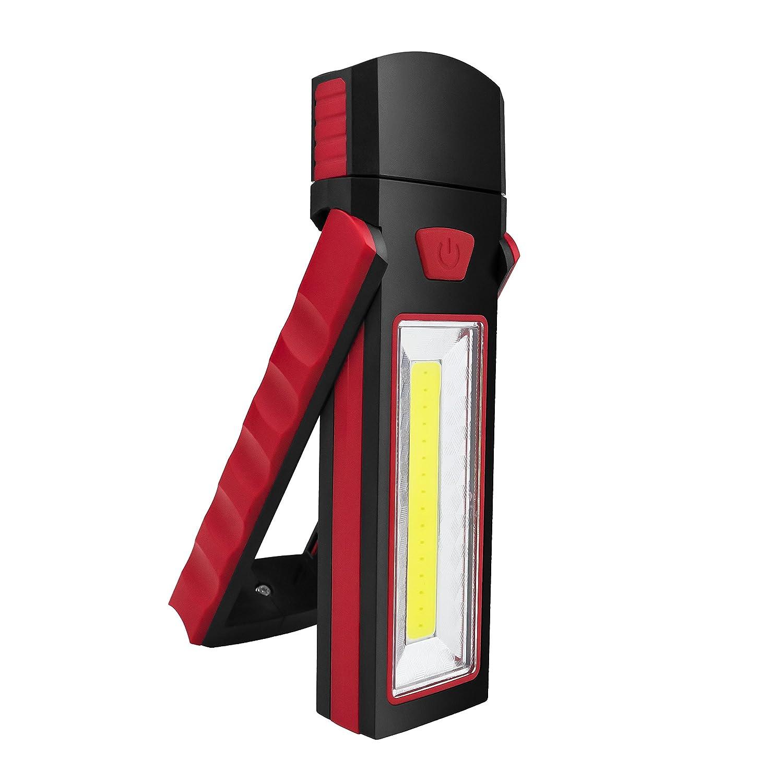 Debonice LED Arbeitsleuchte Werkstattlampe 3W COB + 1W LED Head Lampe 90 Grad Rotation mit Magnet und Haken (Rot)