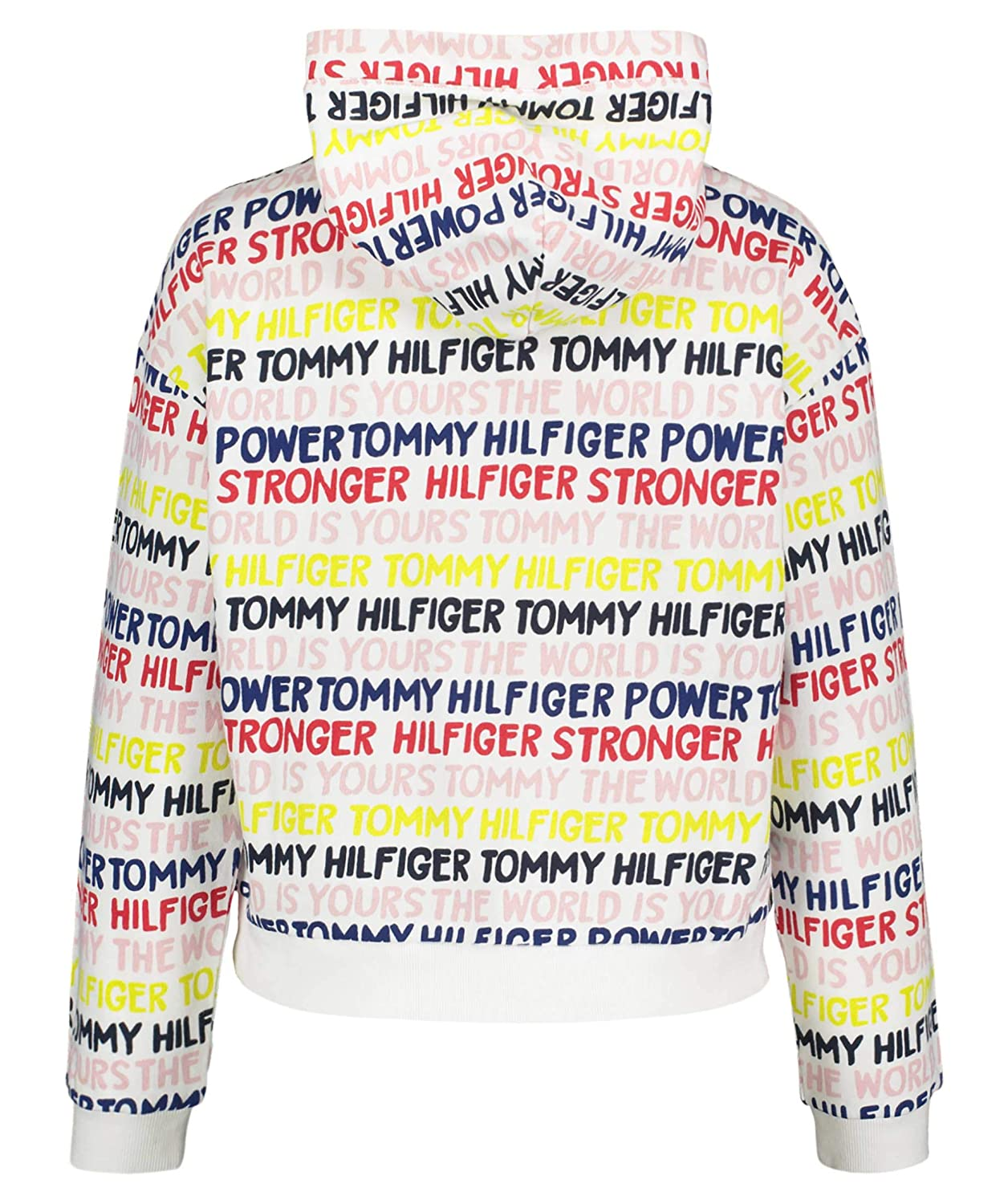 16A Tommy Hilfiger Rebel Text Hoodie Felpa Bambini KG0KG04399123 Bright White 8+