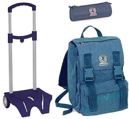 e4b7192a30 Zaino Scuola Invicta + Easy Trolley + Portapenne Azzurro - Estensibile, elementari  e Medie 28 LT: Amazon.it: Sport e tempo libero