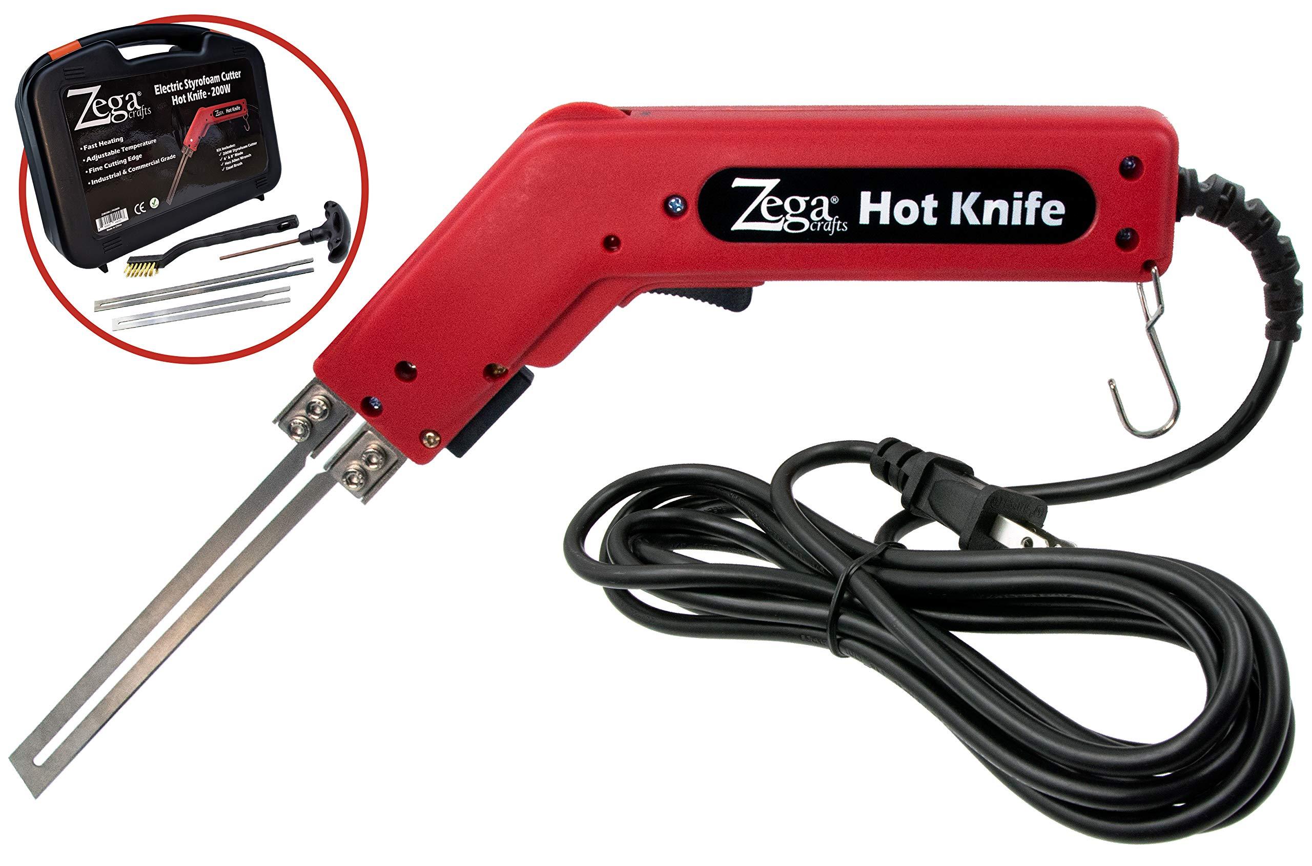 Zega 200 Watt Styrofoam Cutter - Professional 110V Electric Hot Knife & Complete Styrofoam Cutting Kit w/Blades & Accessories by Zega