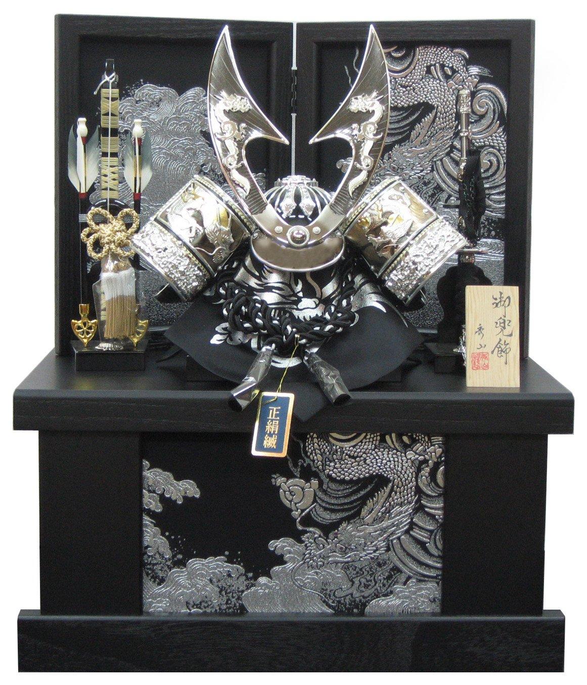[五月人形 兜飾り]12号ハヤブサシルバー兜(正絹縅) 間口48cm金彩銀龍収納飾り B00U2LH3WK