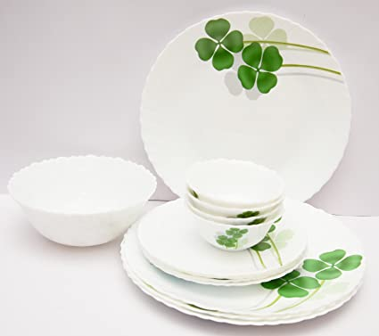 Diva Classique Dual Harmony Dinner Set, 33-Pieces, White/Green (CLSQ/DSET/A44)