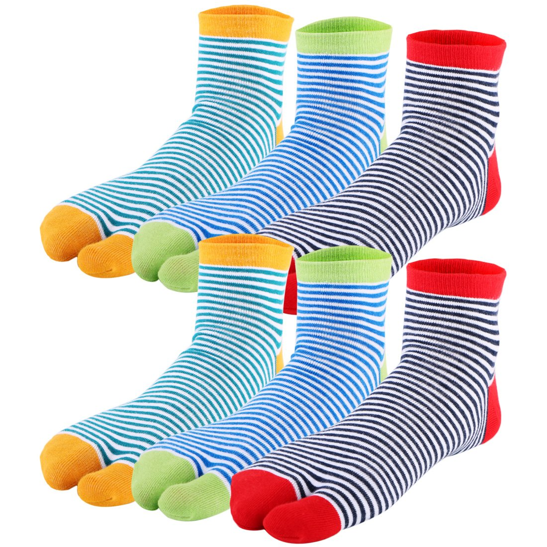 kilofly 6 Pairs Unisex Striped Flip Flop Split 2-Toe Tabi Socks Value Pack FTW518set6