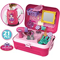 Magicwand Pretend Play Carry Along Plastic Backpack Make-Up Kit for Girls (21 Pieces)