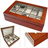 Aston of London® Luxury Wooden 10 Watch Storage Box & Display Case with Walnut Wood Finish