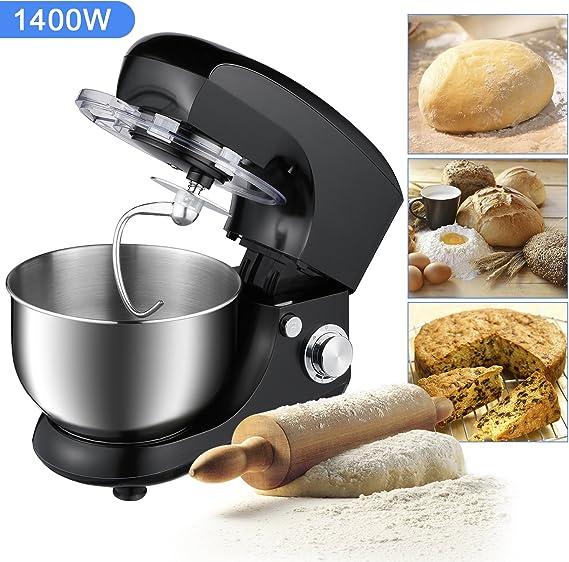 OUTAD Batidora Amasadora Batidora Mezcladora Robot de Cocina Automática Multifuncional 1400 W 5.5L 6 Niveles de Velocidad Recipiente de Acero Inoxidable-Negro: Amazon.es: Hogar
