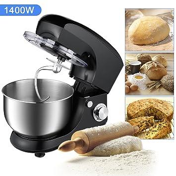 OUTAD Batidora Amasadora Batidora Mezcladora Robot de Cocina Automática Multifuncional 1400 W 5.5L 6 Niveles de Velocidad Recipiente de Acero ...