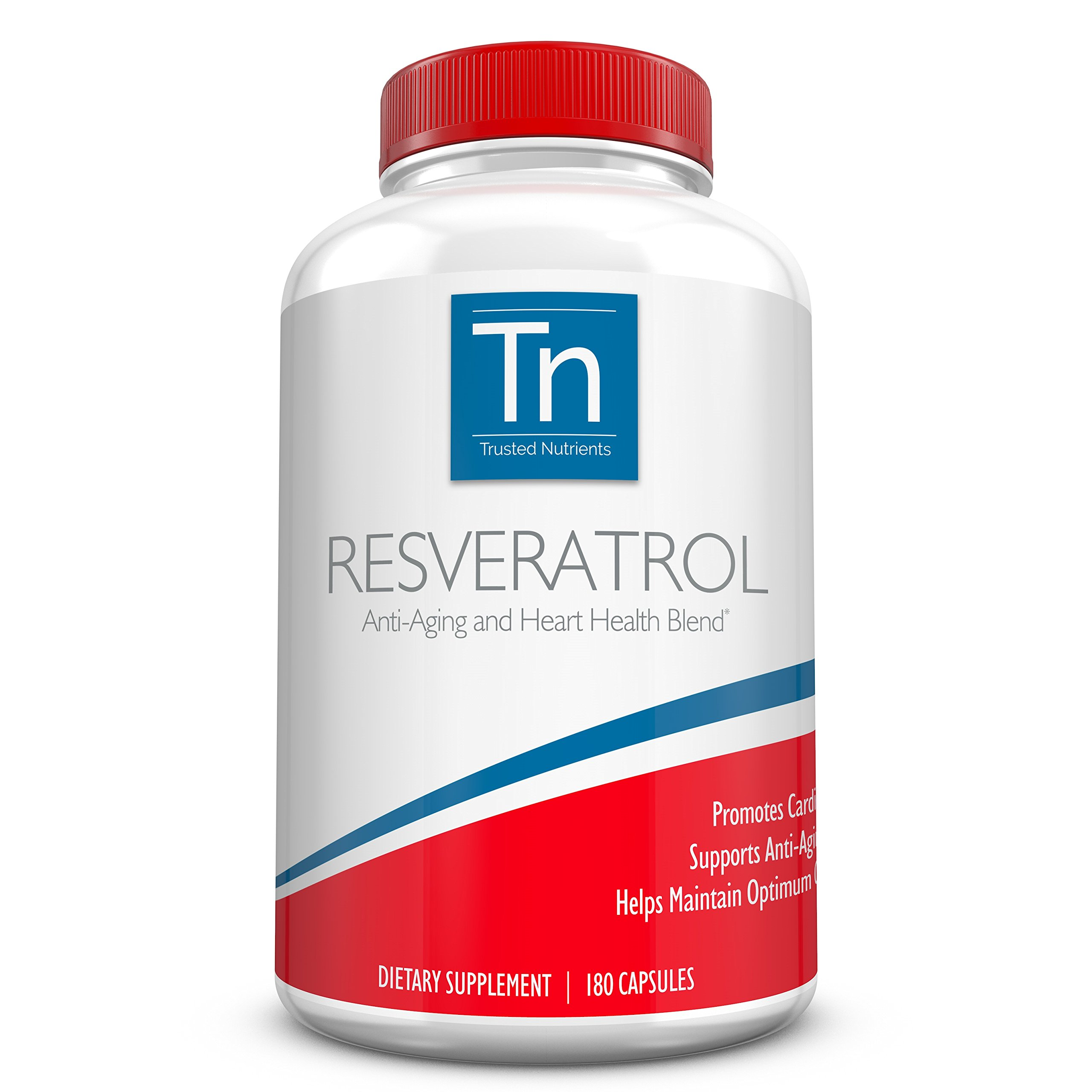 Trusted Nutrients Pure Resveratrol Supplement - Anti-Aging Blend with Trans-Resveratrol, Grape Seed Extract Containing 95% Polyphenols, Acai and Maqui Berry Extract - 1000mg 180 Veggie Capsules