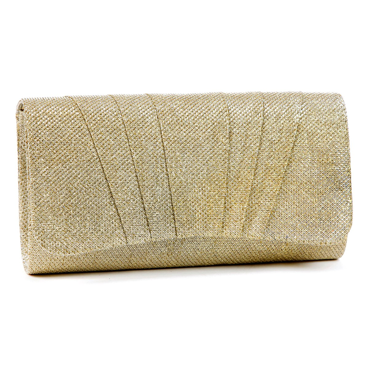 Damara Womens Perfectly Pleated Clutch Party bags,gold