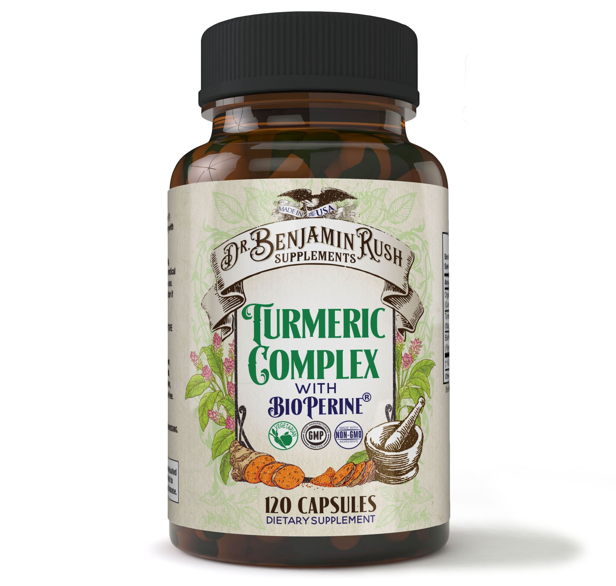 Dr. Benjamin Rush Turmeric Curcumin with Bioperine for Max Absorption. 95% Standardized Curcuminoids Organic Extract 120 Capsules! NON-GMO Black Pepper Pain Relief & Joint Support. Gluten and Soy Free