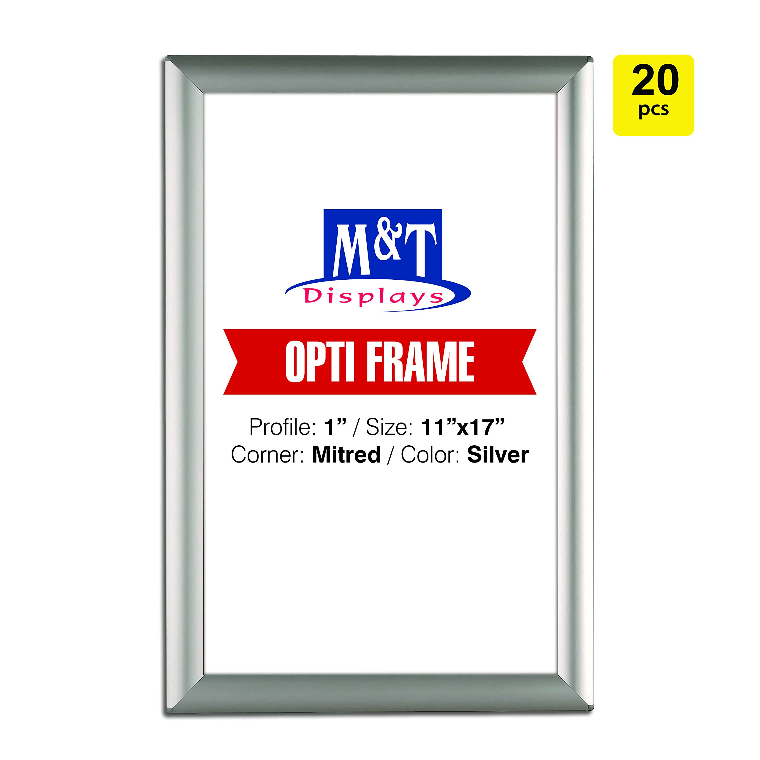 M&T Displays 11x17 Snap Frames, 1'' Profile, Opti Frame, Safe Corners, Wall Mounted - Silver / 20pcs / $9.95 Each